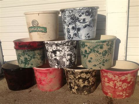 Painting Plastic Planters by Upcycled Flower Pots Using Rangeland Mineral Tubs Plastic