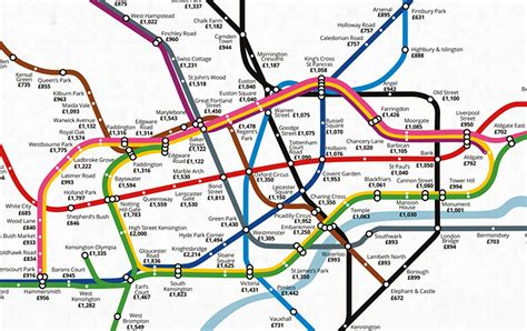 underground station map map of housing prices