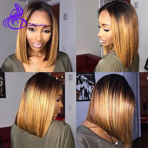 bob hairstyles middle parting ombre brazilian virgin human hair straight short hair wigs