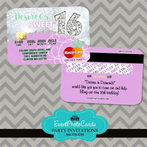 Sweet 16 Invitations by Lilac Mint Sweet 16 Credit Card Sweet Sixteen Credit