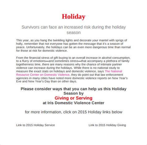 holiday memo templates sample formats