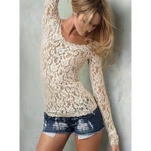 Long sleeve stretch lace top victoria s secret thisnext