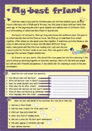 My Best Friend Essay For Class 7 by Esl Worksheets For Beginners My Best Friend Reading Comprehension
