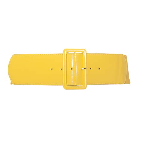 plus size wide patent leather fashion belt yellow