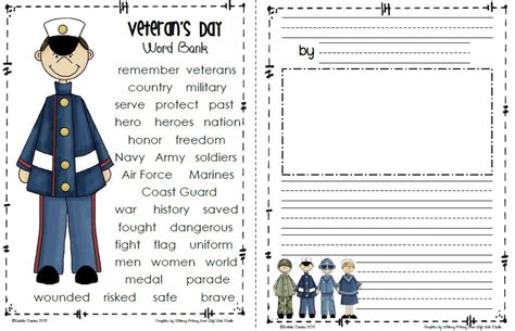template for sending a card to a veteran sailing through 1st grade veteran s day freebie