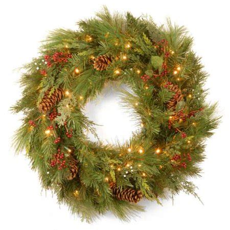 wal mart battery operated wreaths with timer 30 quot pre lit battery operated white pine artificial wreath warm clear led lights