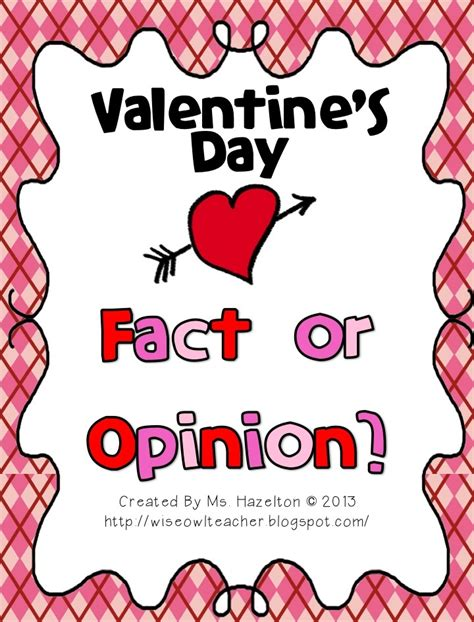 7 Facts On Valentines Day by S Day Fact Or Opinion Literacy Center