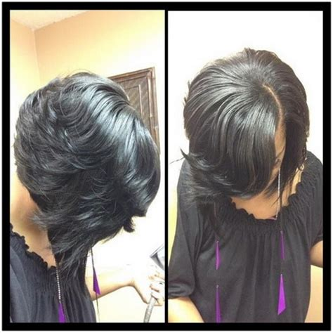 black women feathered bob weave feathered hairstyles for black women