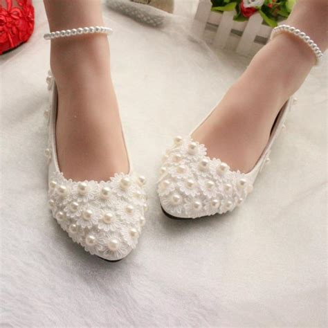 Wedding Shoes With Pearls by Pearls And Lace 2015 Wedding Shoes Flats Bridal Shoes