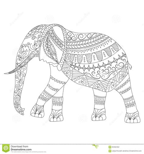 mosaic elephant coloring page zentangle elephant doodle on white background stock vector