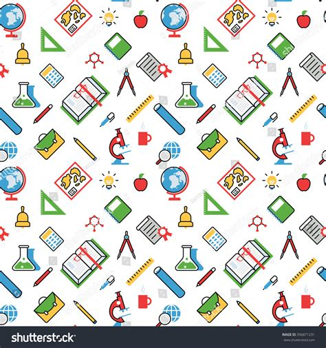 pattern education abstract education objects pattern seamless background vector stock