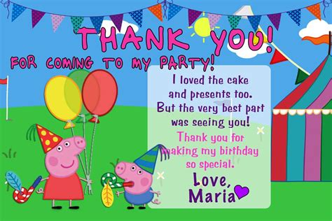 Peppa Pig Thank You Card Template by 10 Personalised Peppa Pig And George Birthday