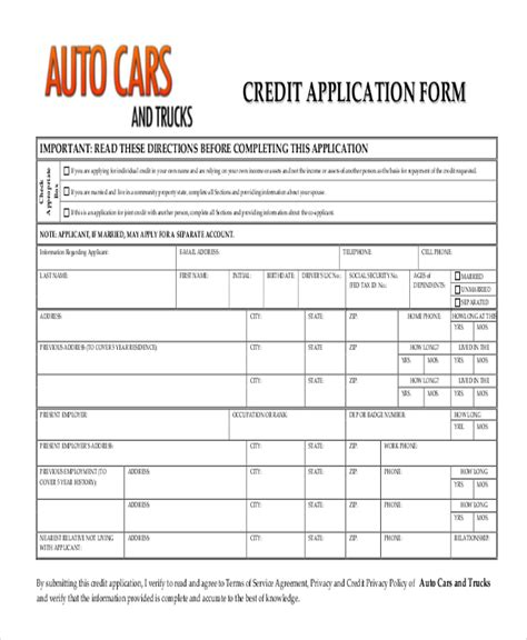 Vehicle Credit Application Template Sle Credit Application Form 10 Free Documents In Pdf