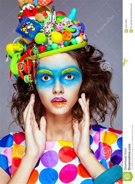 creative pop with creative pop makeup stock photo image