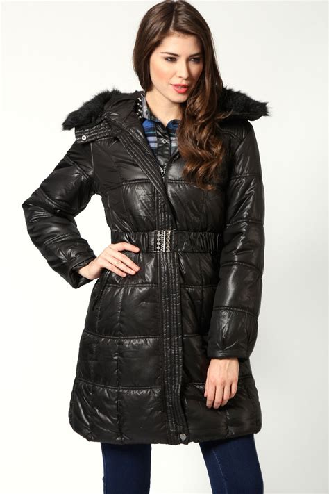 Quilted Fur Coat by Boohoo Quilted Coat With Fur In Black Ebay