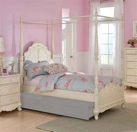 dreamy white finish twin girls poster canopy bed bedroom furniture ebay