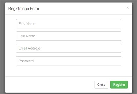 how to create a simple registration form using modal