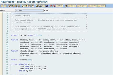 learn abap programming program to abap programs reptran
