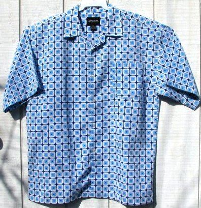 big & tall men's mod blue white geo mod repro 70s shirt