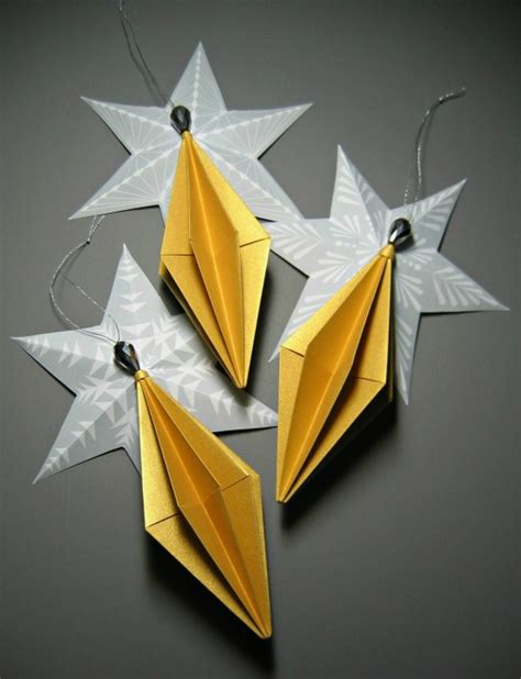 Easy Origami Ornaments - origami ornaments by all things paper project