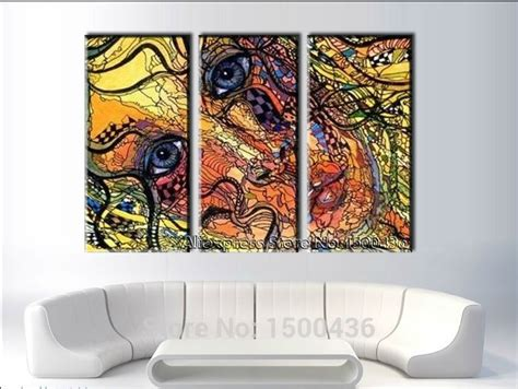 Living Room Wall Decor Sets Painted Abstract Portrait Painting 3 Canvas Sets Living Room Wall