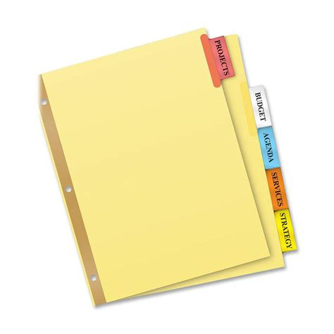 Avery Tab Inserts Template by Avery Big Tab Insertable Dividers 5 Tab Ld Products