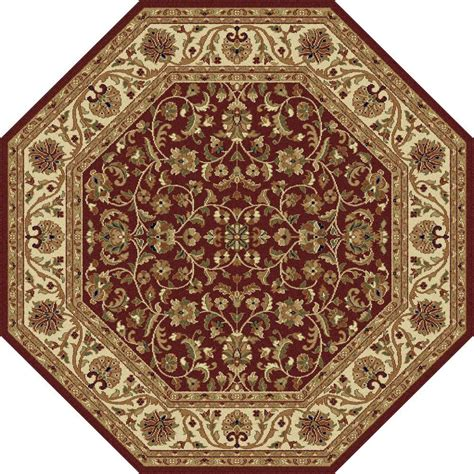 Tayse Rugs Sensation Red 5 Ft 3 In Octagon Transitional Octagon Shaped Area Rugs