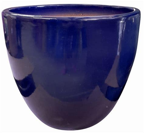 high shine cobalt blue glossy glazed flower pot tapered