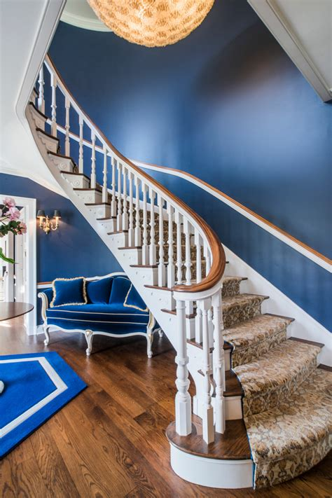 navy blue foyer traditional staircase   ev