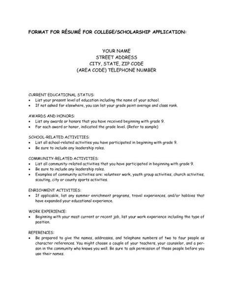 college scholarship resume exles best resume collection