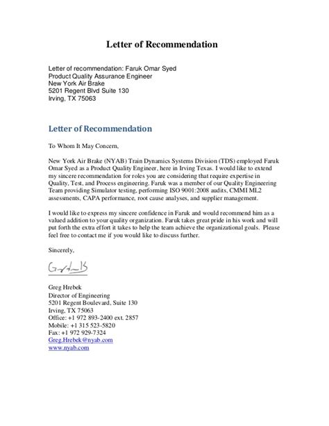 Letter Of Recommendation Quality letters of recommendation faruk