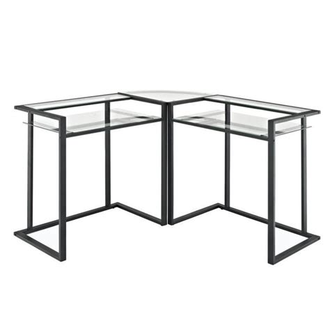 glass l shape computer desk with silver frame finish l shaped computer desks metal