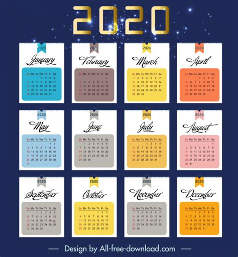 calendar template colorful sparkling flat decor  vector  adobe illustrator ai ai