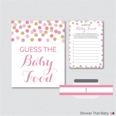 baby food guessing template pink and gold baby shower baby food guess the baby food