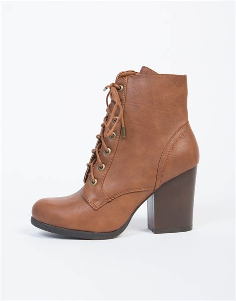 lace up wooden heel ankle boots brown leather boots