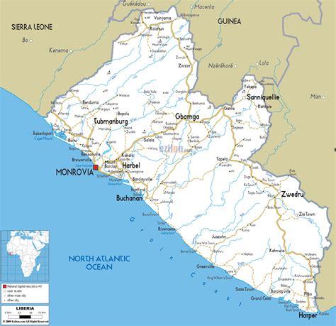 africa map liberia road map of liberia ezilon maps