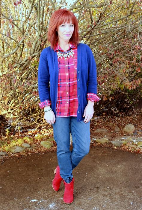Tilly S Black Friday Giveaway - blown away and a giveaway plaid flannel button down denim joggers and red ankle