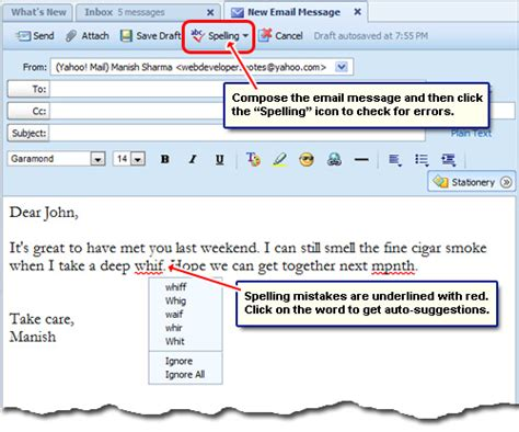 html format yahoo mail yahoo mail spell check