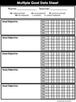Free Special Education Data Sheets Editable Data Chart Pinterest Data Sheets Special Mls Data Sheet Template