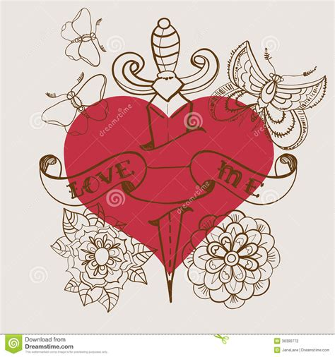 valentine tattoo designs school style with flowers and dagger