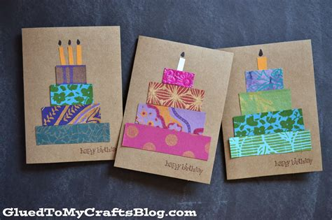 Birthday Paper Crafts - paper scrap birthday cards craft idea stickyu