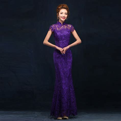 Dress Of The Day Golden Lace Qi Pao by Fashion Purple Evening Dress Wedding Qipao