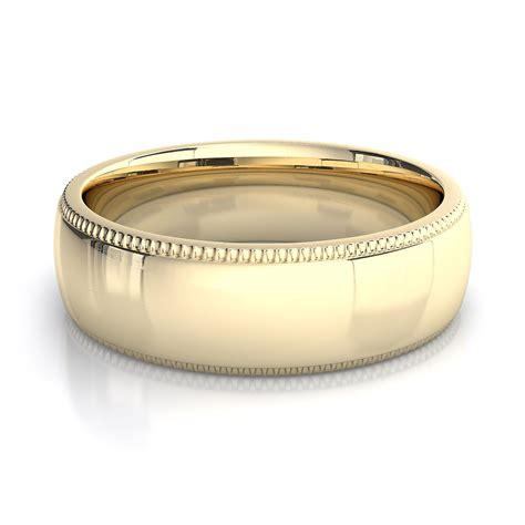 6mm milgrain mens plain wedding band in 18k yellow gold