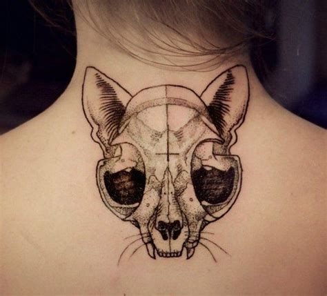cat tattoo black and grey awesome black grey cat skull tattoo on back tattoos book