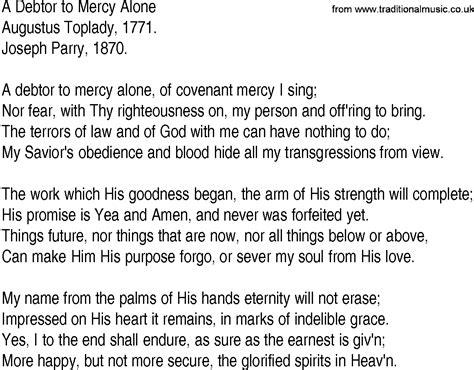 lyrics of mercy hymn and gospel song lyrics for a debtor to mercy alone by