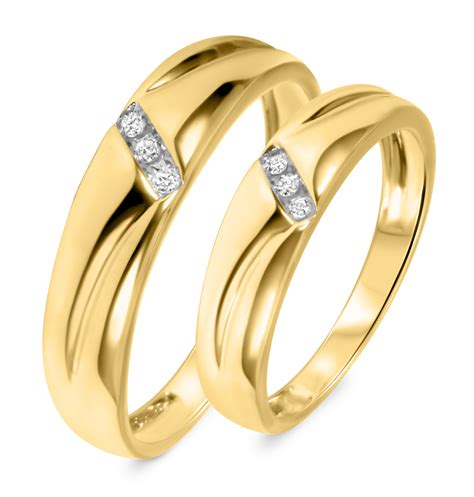 gold wedding bands his and hers 1 10 ct t w his and hers wedding band set 14k