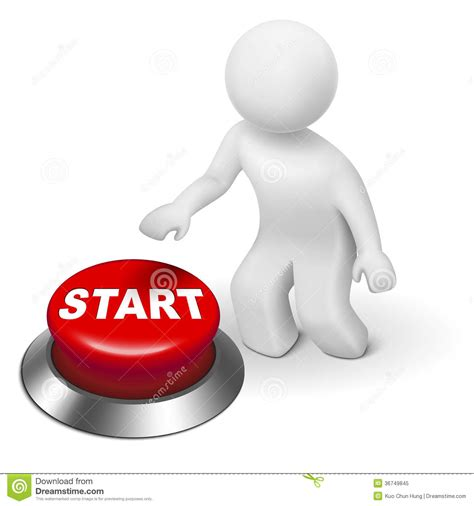 art startup 3d man is pushing the start button stock vector