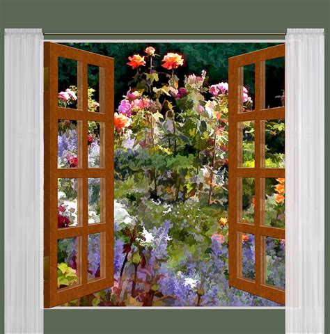 window view rose garden  sunlight painting  elaine plesser