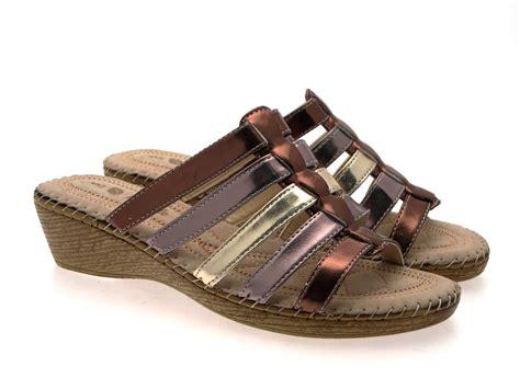 ladies comfort sandals uk womens comfort low wedges strappy sandals mules ladies