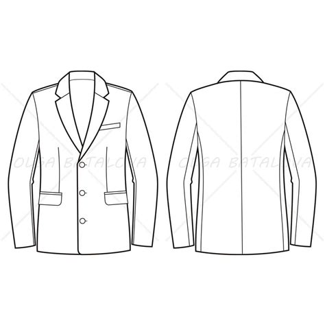 men s business jacket fashion flat template illustrator